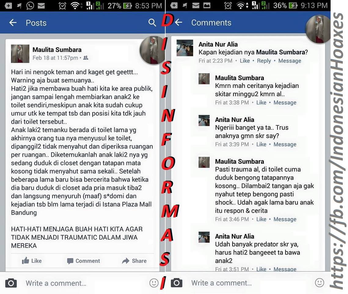 Rumor Anak Disodomi Di Wc Mall Bandung Hoax Atau Bukan Ya