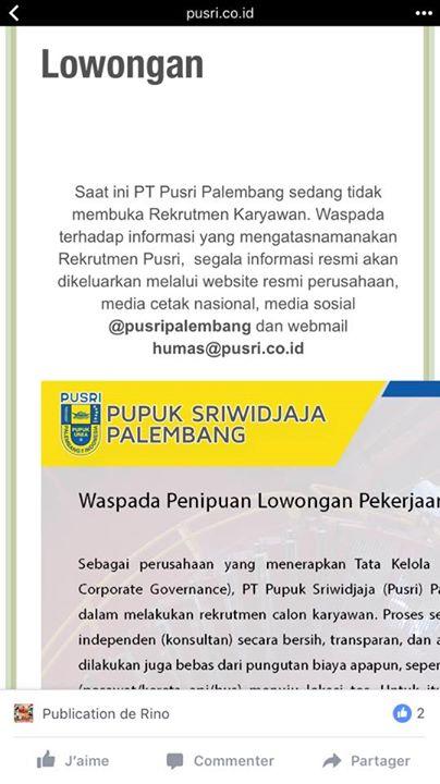 #scam #lowongan_kerja #pt_pupuk_sriwidjaja … – Hoax atau ...